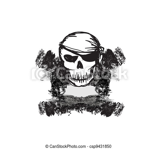 Skull Pirate - retro card - csp9431850