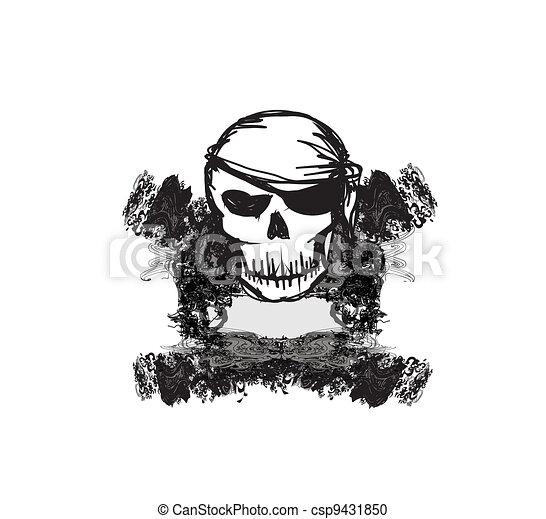 Skull Pirate - retro card  - csp9431850