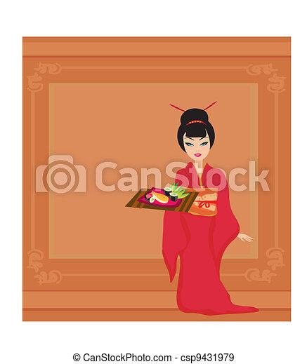 Asian girl enjoy sushi - csp9431979