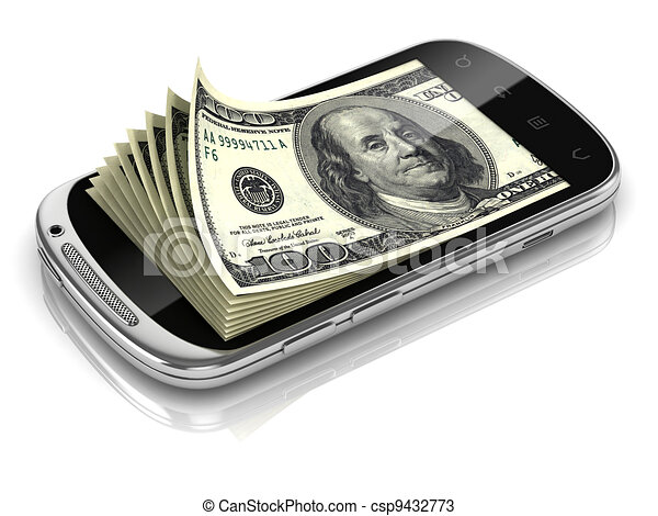 dollars inside smart phone  - csp9432773