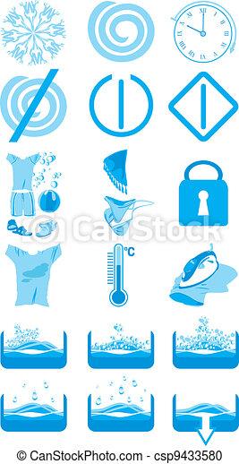Icons for washing machine - csp9433580