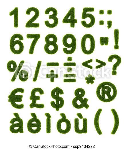 Green alphabet - Numbers and Symbols - csp9434272