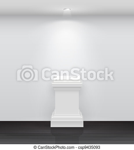 3d Empty white stand for your exhibit - csp9435093