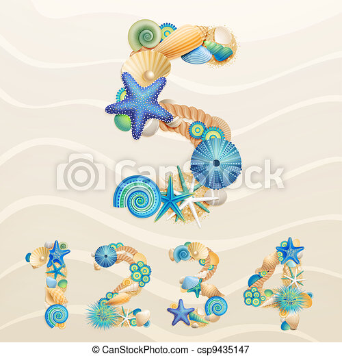 Numbers, vector sea life font on sand background. - csp9435147