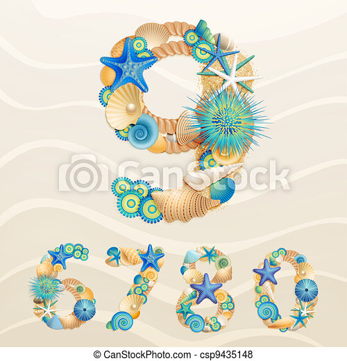 Numbers, vector sea life - csp9435148