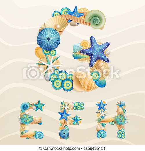 Vector sea life font on sand background. - csp9435151