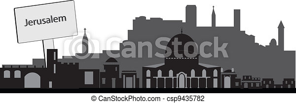 jerusalem skyline with text plate - csp9435782