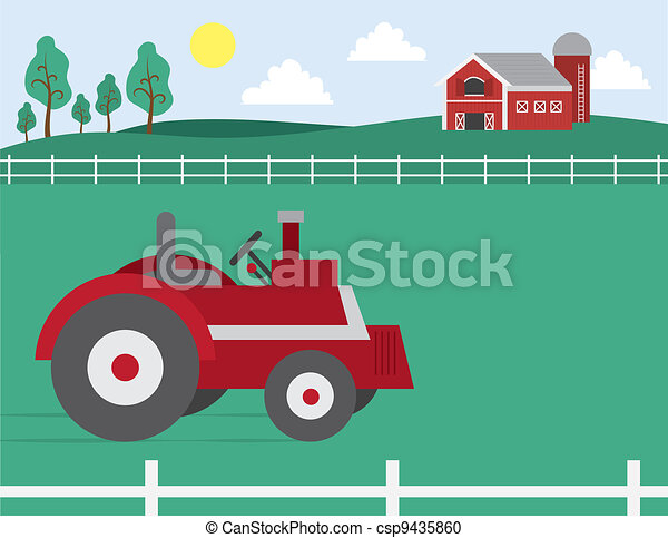 Farm with Barn and Tractor - csp9435860