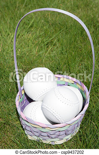 Softball balls in a easter basket