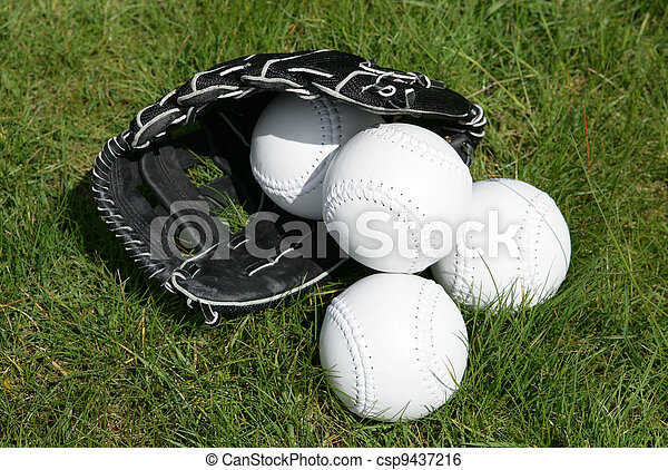 softball glove and balls