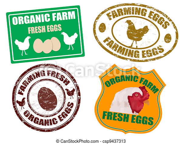 Farming eggs labels and stamps - csp9437313