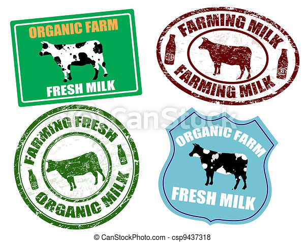 Farming milk labels and stamps - csp9437318