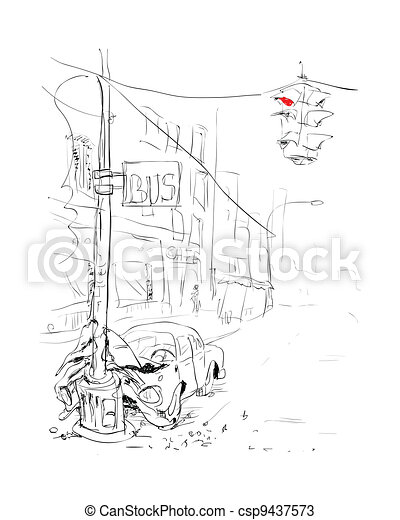 Car accident. Crash. Vector illustration. - csp9437573