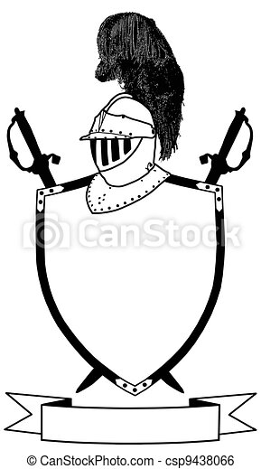 Isolated 16th Century War Shield Swords Banner and Plumaged Helmet Vector - csp9438066
