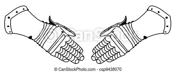Isolated 16th Century War Iron Gloves - csp9438070