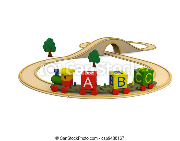Wooden toy train carrying alphabet letters - csp9438167