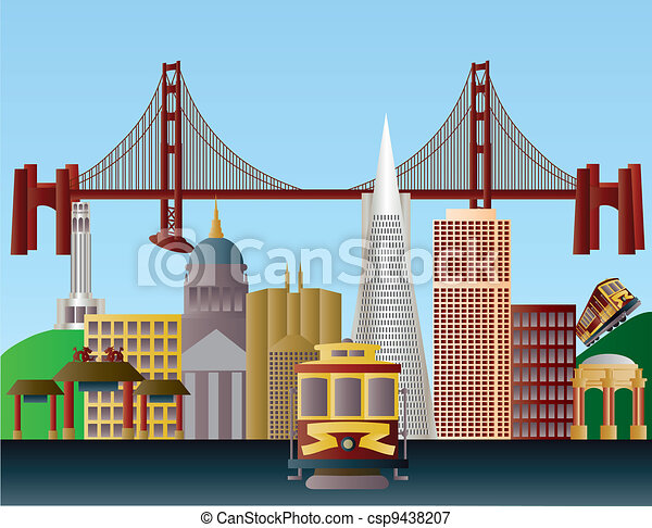 San Francisco City Skyline Illustration - csp9438207