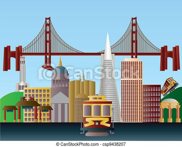 San Francisco City Skyline Illustration - csp9438207