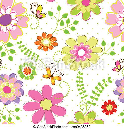 Springtime colorful flower seamless pattern - csp9438380