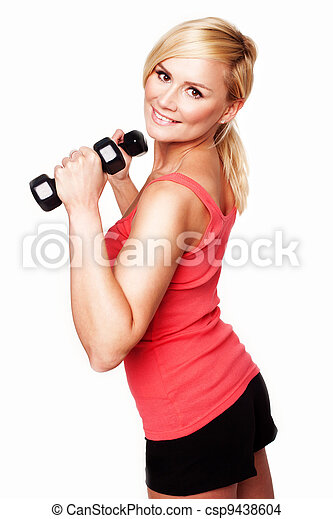 Gorgeous young woman working out - csp9438604