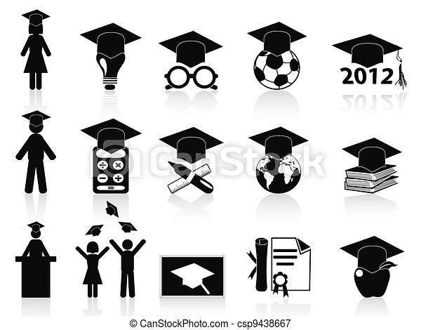 black Graduation icons set - csp9438667