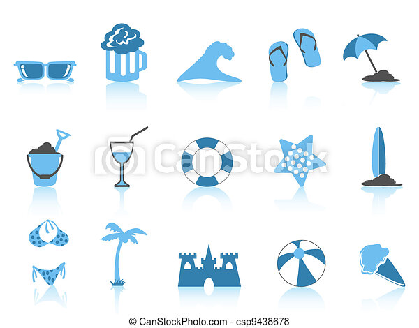 simple beach icon blue series - csp9438678