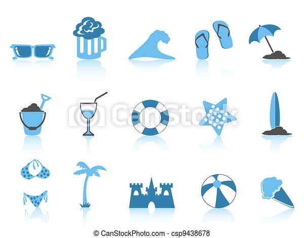 simple beach icon blue series - csp9438678