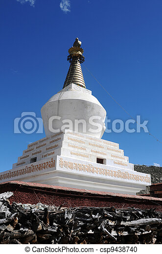 Landmark of a white stupa in Tibet - csp9438740