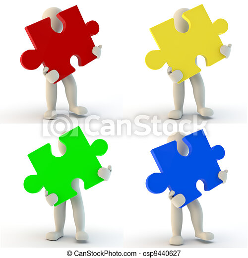3D Human character holding jigsaw puzzle - csp9440627