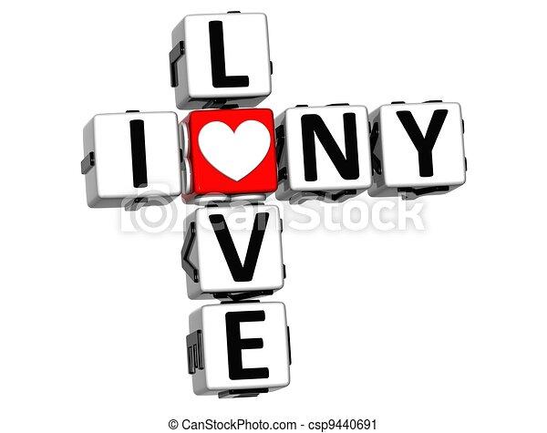 3D I Love NY Crossword Block text - csp9440691