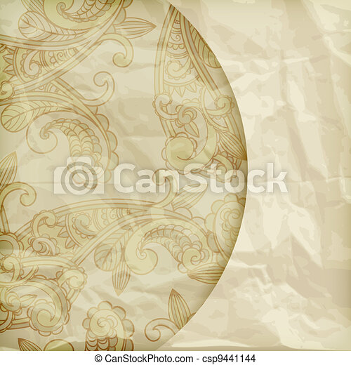 vector retro background with paisley pattern  on crumpled golden foil texture, eps 10, gradient mesh - csp9441144