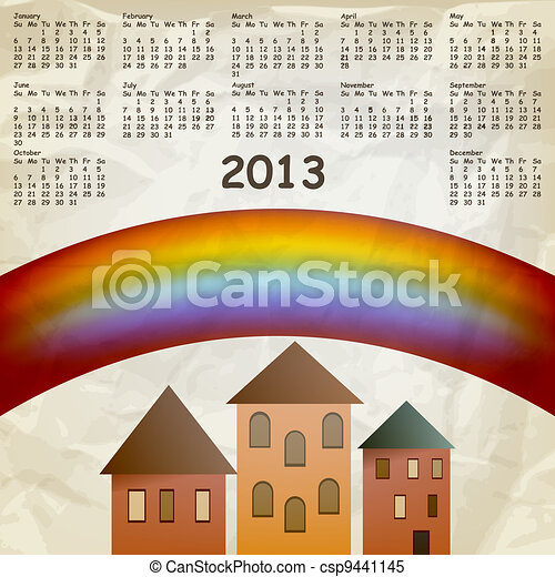 vector 2013 calendar on abstract background with rainbow and old houses, crumpled paper texture, eps 10, gradient mesh - csp9441145