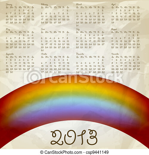 vector 2013 calendar on abstract background with rainbow, crumpled paper texture, eps 10, gradient mesh - csp9441149