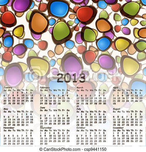 vector 2013 abstract calendar with cartoon schemes of connections - csp9441150