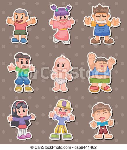 cartoon kid stickers - csp9441462