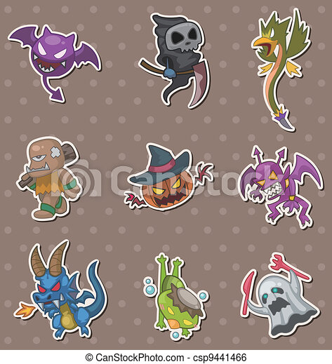 halloween monster stickers - csp9441466