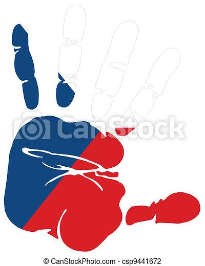 Hand print flag of czech republic - csp9441672