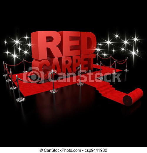 red carpet 3d illustration  - csp9441932