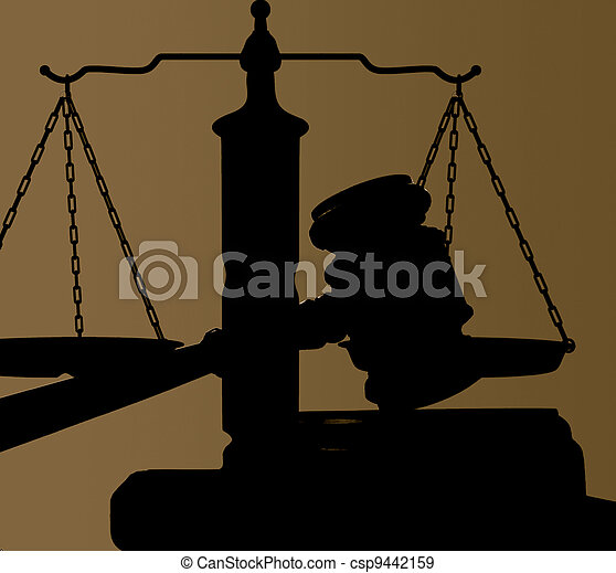 judges court gavel and justice scales silhouette - csp9442159