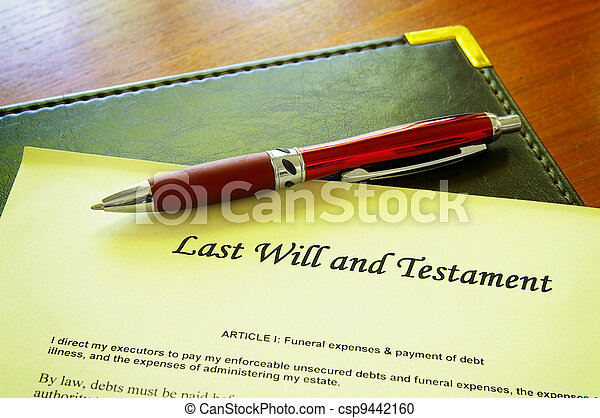 Last Will and testament document - csp9442160