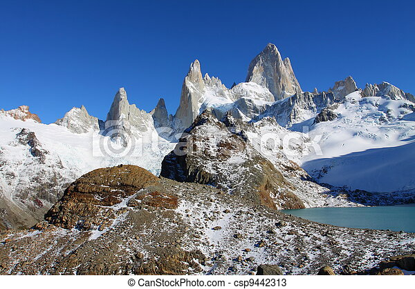 Beautiful nature landscape with Mt. Fitz Roy as seen in Los Glaciares National Park, Patagonia, Argentina - csp9442313
