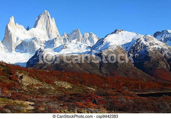 Beautiful nature landscape with Mt. Fitz Roy as seen in Los Glaciares National Park, Patagonia, Argentina - csp9442383