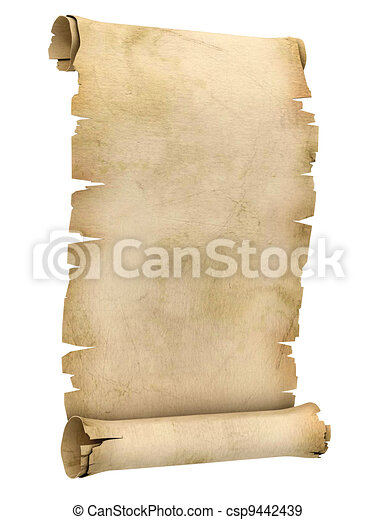 parchment scroll 3d illustration  - csp9442439