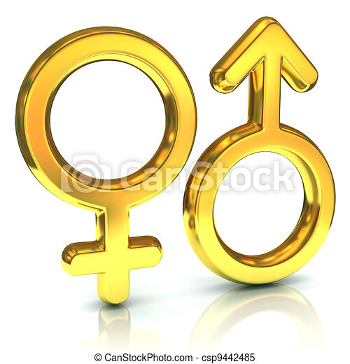 male and female sex symbols, golden - csp9442485