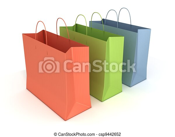 colorful shopping bags isolated  - csp9442652