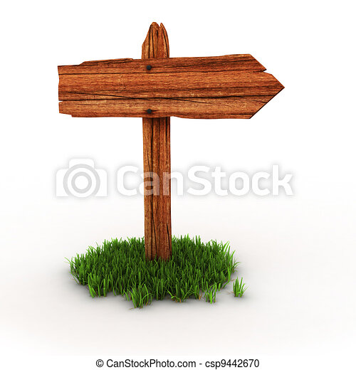 old wooden empty signpost on grass  - csp9442670