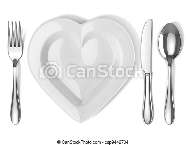 heart shaped plate with silverware - csp9442704
