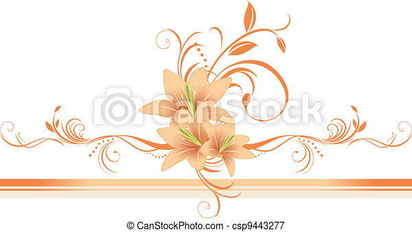 Lilies with floral ornament. Border - csp9443277