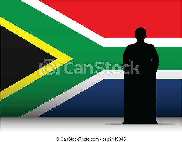 South Africa Speech Tribune Silhouette with Flag Background - csp9443345