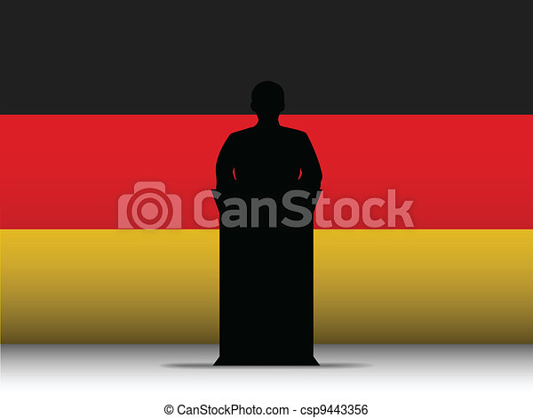 Germany Speech Tribune Silhouette with Flag Background - csp9443356